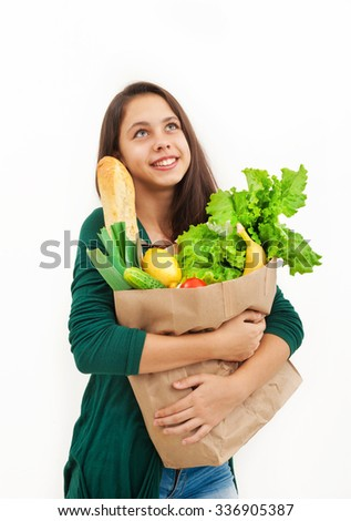 Girl with a package of products from the store