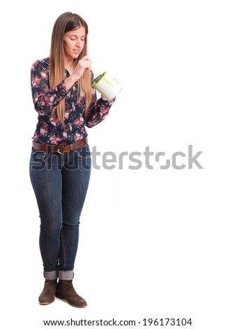 Girl with a paint can - stock photo