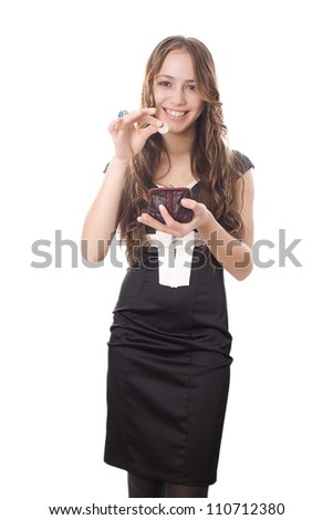 girl with a purse and coin isolated on white background - stock photo