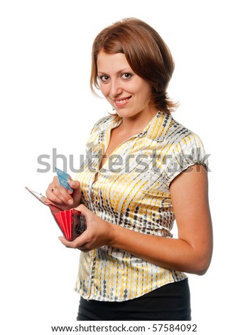 Girl with a purse and credit card in hands