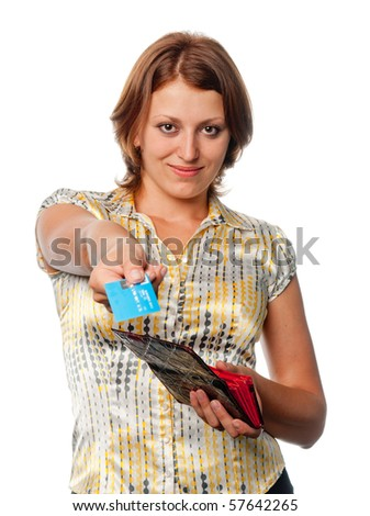 Girl with a purse and credit card in hands - stock photo