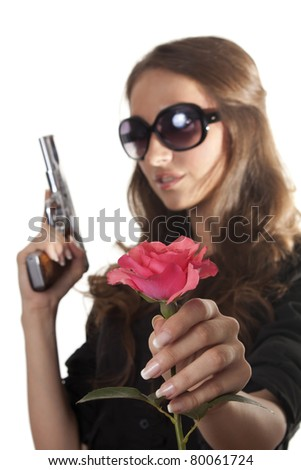 Girl with a rose and a gun