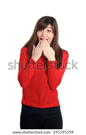 Girl with a scared gesture on white background