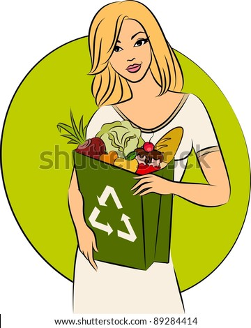 Girl with a shopping bag filled with healthy meal ingredients