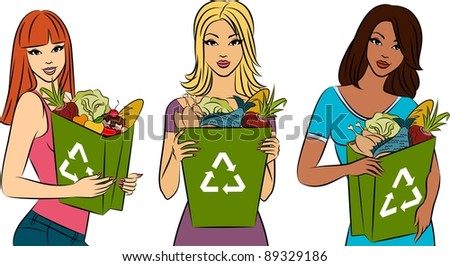 Girl with a shopping bag filled with healthy meal ingredients.