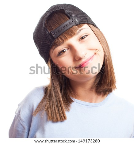 girl with a turned cap on a white background - stock photo