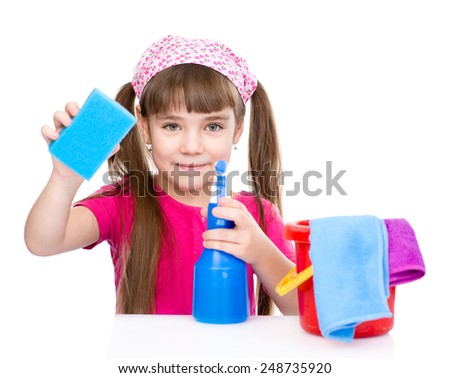 girl with a washcloth and tools ready to clean house.  Isolated on white background