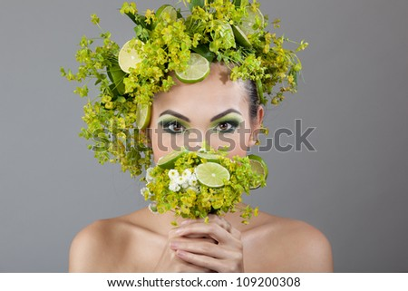 girl with a wreath of fruit - stock photo