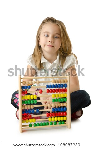 Girl with abacus on white