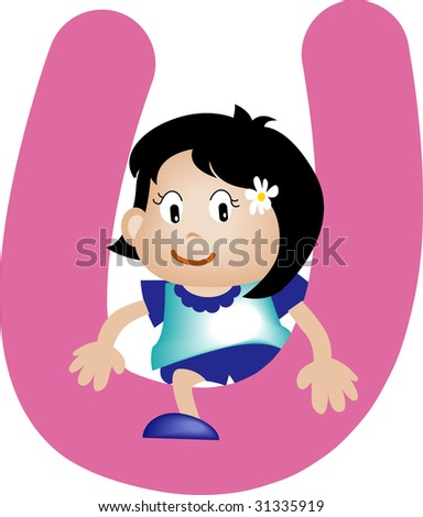 Girl with Alphabet letter U