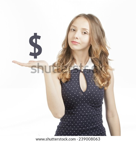 girl with an imaginary sign dollar above  palm