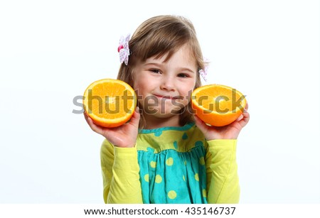 girl with an orange on a white background