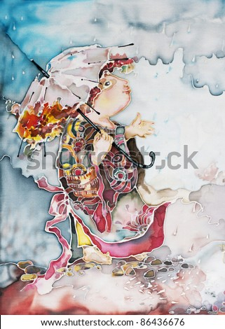 girl with an umbrella in the rain. illustration of autumn rainy weather