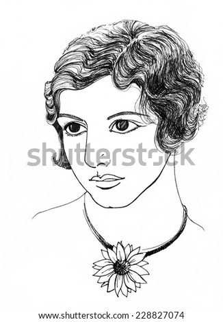 girl with an unusual appearance. 1920-1930 hairstyle, handdrawn illustration - stock photo