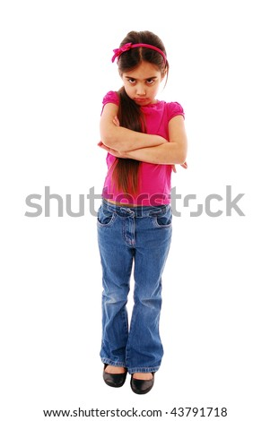Girl with arms folded isolated on white
