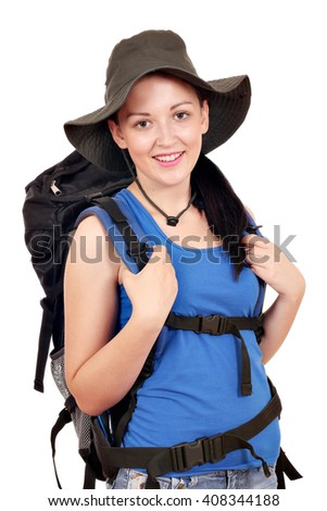 girl with backpack ready for hiking - stock photo