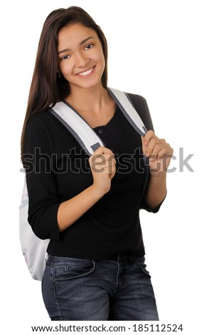 Girl with Backpack - Teenage girl with her backpack isolated on white background   - stock photo