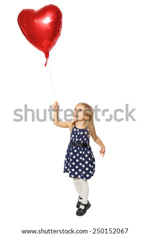 Girl with balloons in the form of a heart standing on white background