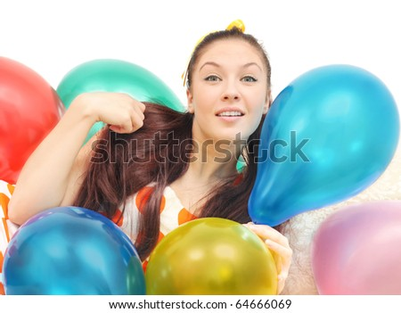 girl with balloons look at camera