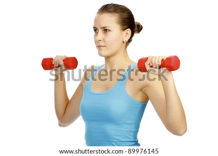 Girl with barbells