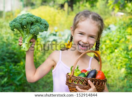 Girl with basket vegetables. Girl harvests - stock photo