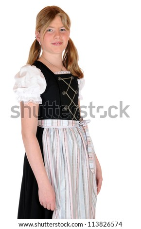 Girl with bavarian dirnd lin front of a white background - stock photo