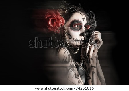 girl with beautiful and frightful - stock photo