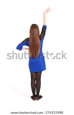 Girl with beautiful natural brown hair isolated on white - stock photo