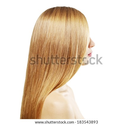 Girl with beautiful straight hair isolated on a white background