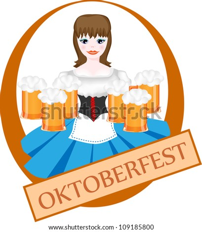 Girl with beer - Oktoberfest logo design with space for text - stock photo
