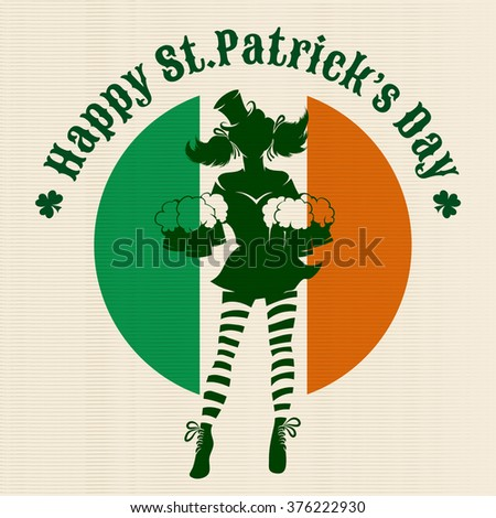 Girl with beer silhouette against irish colors. St. Patrick's Day Party logo or emblem.  - stock photo