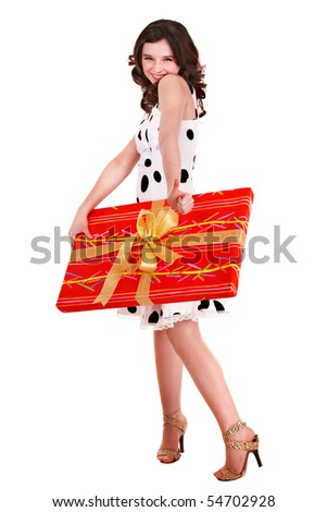 Girl with big red gift box. Isolated.