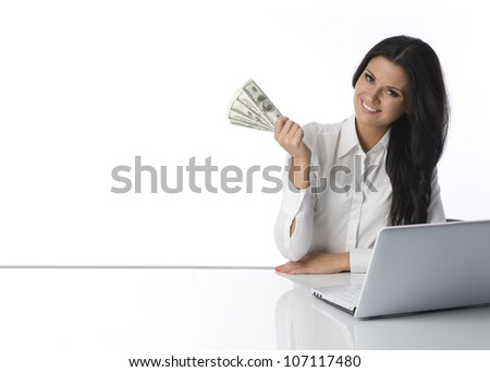 Girl with bills in hand. Space. - stock photo