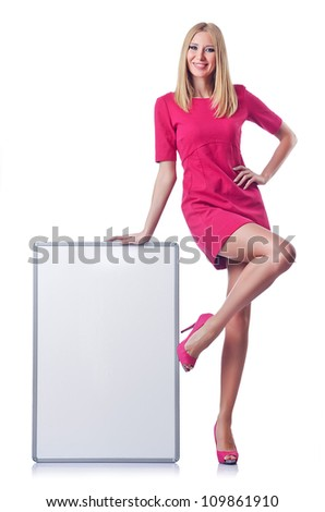 Girl with blank board on white