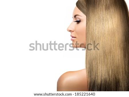 girl with blonde shining laminated hair - stock photo