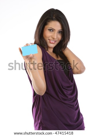 girl with blue credit card - stock photo