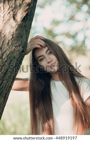 Girl with blue eyes and long hair