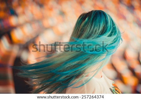 girl with blue hair - stock photo