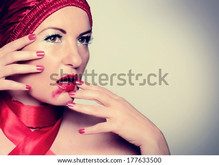 girl with blurred make up - stock photo