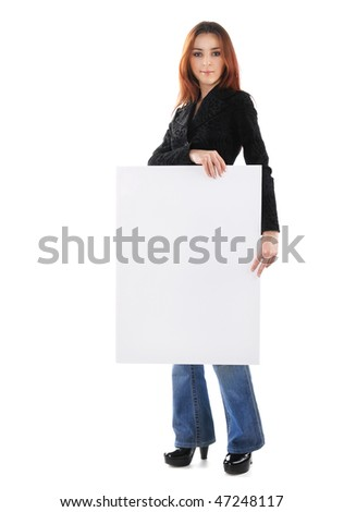 girl with board isolated on white background