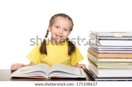 girl with book on white