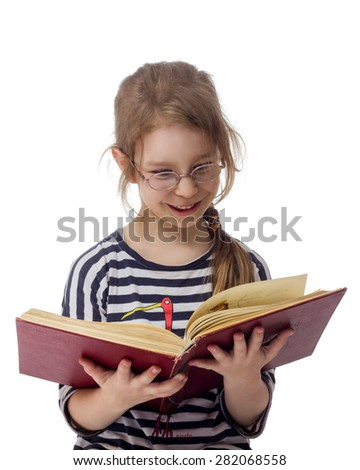 girl with book wearing glasses isolated white background