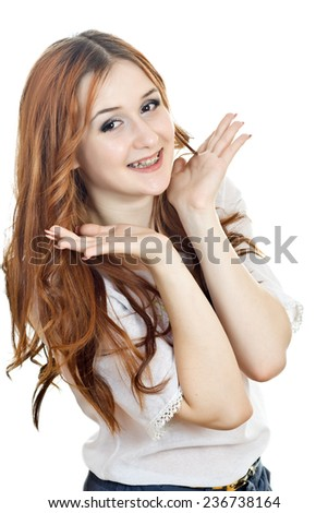 Girl with braces. Smile girl isolated on white - stock photo