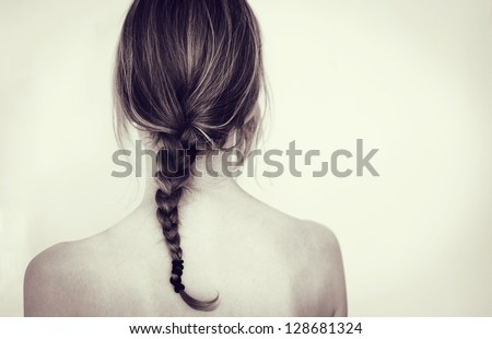 Girl with braid - stock photo
