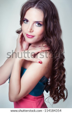 girl with bright makeup and long hair - stock photo
