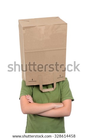 girl with brown paper bag over head isolated on white background - stock photo