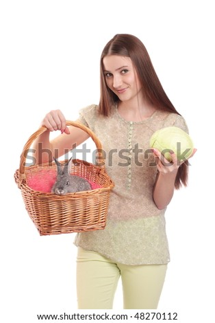 girl with bunny isolated on white - stock photo