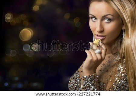 girl with casino chips - stock photo