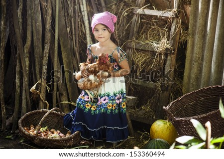 Girl with chicken - stock photo