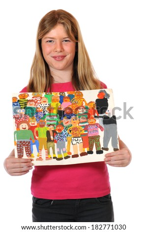Girl with childrens paintings - stock photo